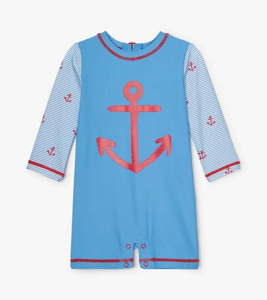 Red Anchors Baby One-Piece Rashguard - Parisian Blue