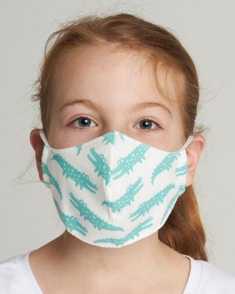 Mund - und Nasenmasken für Kinder - Krokodil mint
