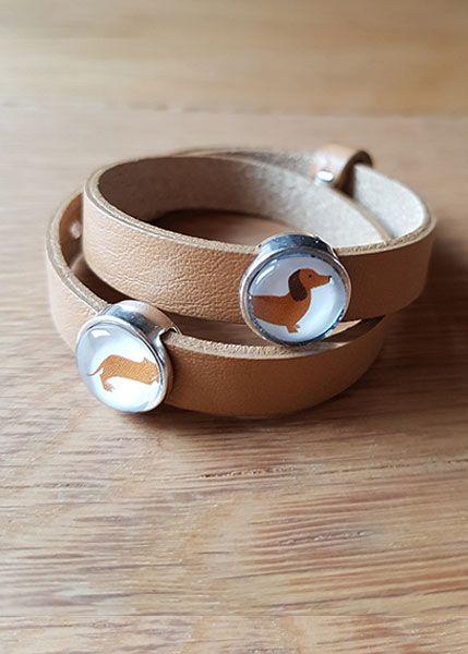 Armband mit Slider-Perlen braun Dackel