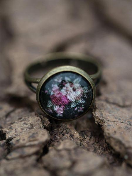 Ring bronze - Rosen auf schwarz