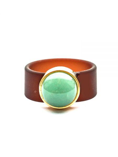 Ring aus Sliderperle gold - Edelstein grüner Aventurin