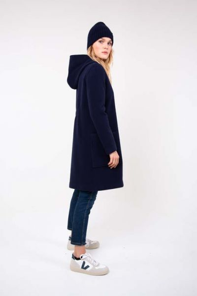 Hannah Wool Coat - Navy
