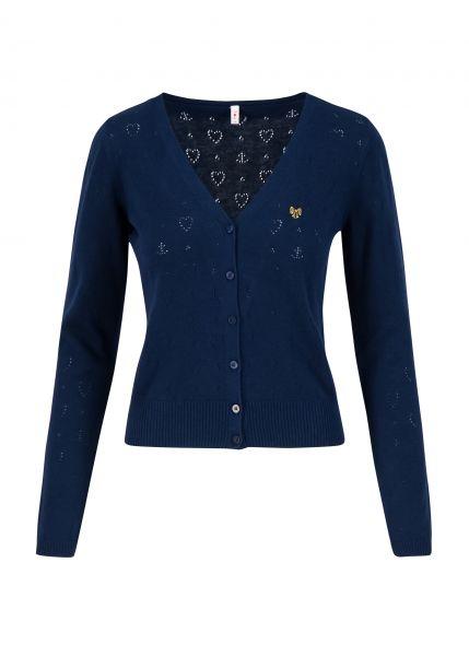 logo cardigan v-neck langarm - dark blue heart anchor