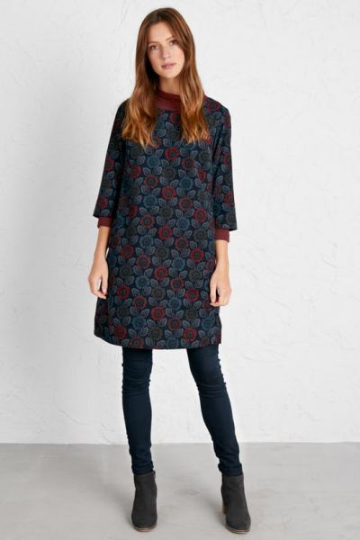 West Pentire Dress - Woodcut Floral Dark Night