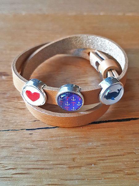 Armband mit Slider-Perlen braun Herz/ Anker/ Wal