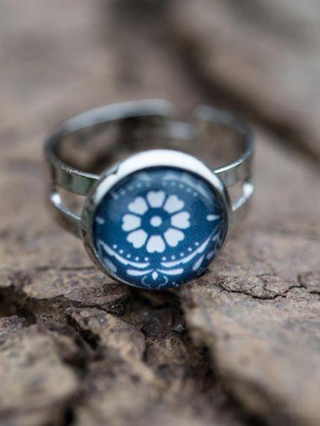 Ring silber - Blumenmuster blau