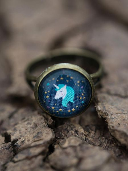 Ring bronze - Einhorn auf blau