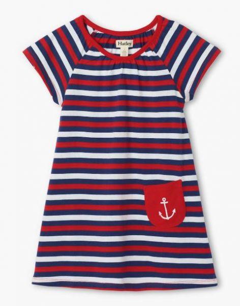 Nautical Stripe Tee Shirt Dress - Patriot Blue