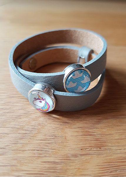 Armband mit Slider-Perlen grau - Einhorn und Papierschiffchen