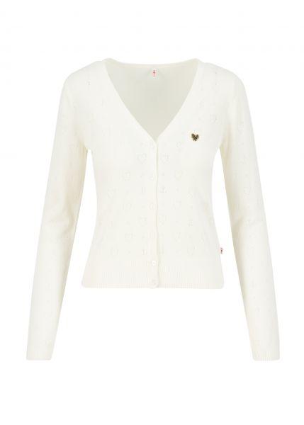 logo cardigan v-neck langarm - white heart anchor