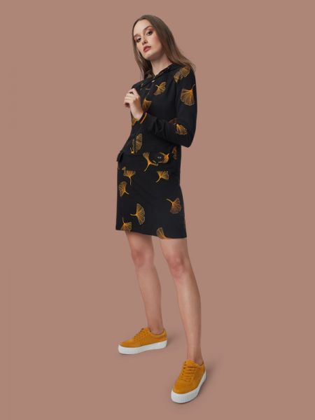 Renee Got The Beat - Hoodie Dress - Ginko Black/Mustard