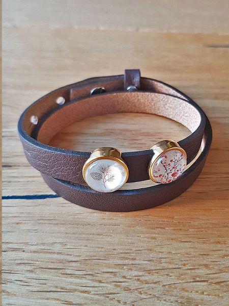 Armband mit Slider-Perlen braun Kirschblüten