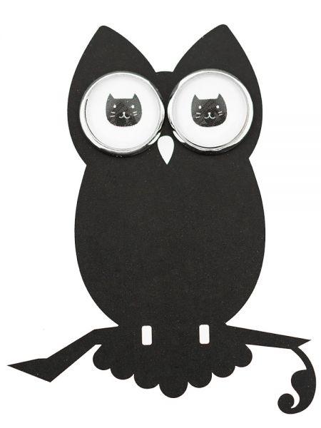 Ohrstecker Katze schwarz