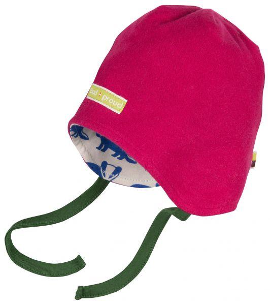 Mütze Fleece Dachs - berry