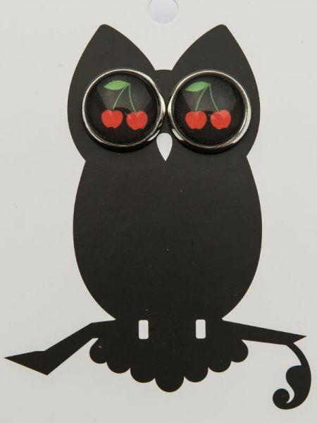 Ohrstecker Kirschen auf schwarz