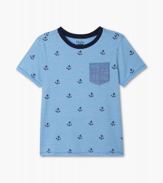 Blue Anchors Front Pocket Tee - Azure Blue