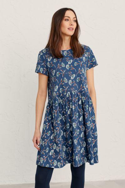 S/S Sea Mirror Dress Cloudy Carnations Cornish Blue