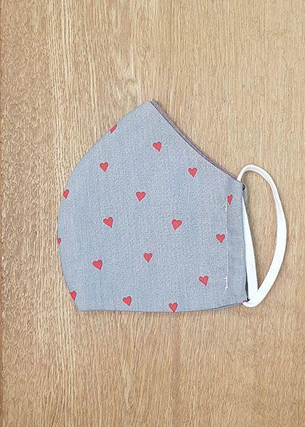 130524 Mund-Shirt leicht - grau, rote Herzchen