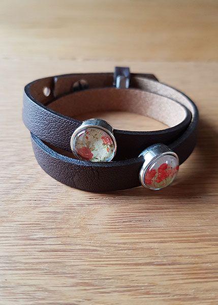 Armband mit Slider-Perlen braun - Blumen