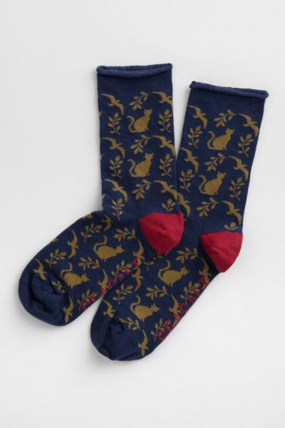 Womens Arty Socks - On the Prowl Dark Night