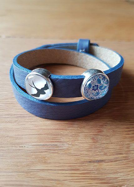 Armband mit Slider-Perlen blau- Schwalbe und Blumen