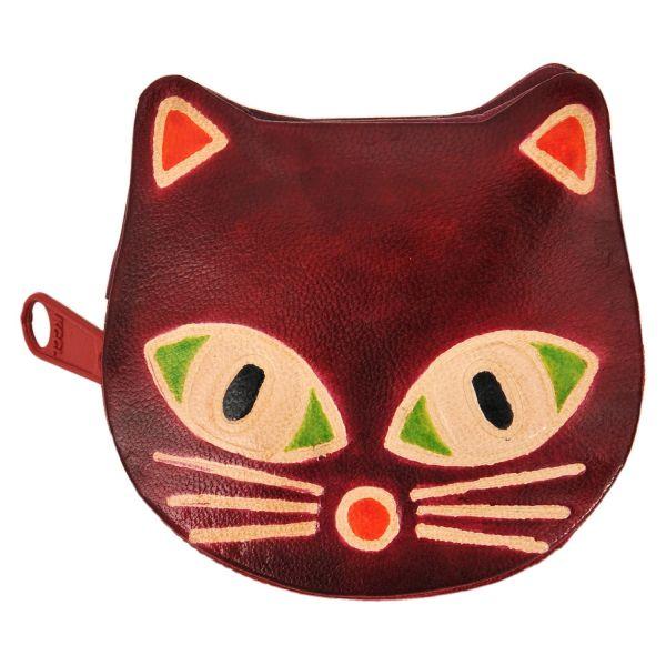 Ledergeldbörse Katze