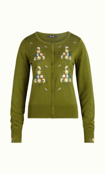 Cardi Roundneck Bouquet - Posey Green