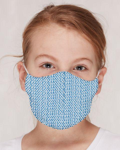 Mund- und Nasenmasken GOTS für Kinder / Erwachsene Rauten Cobalt