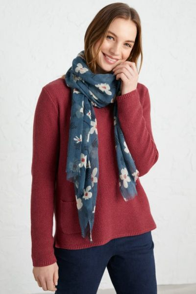 Pretty Printed Scarf Floral Dash Dark Cadet