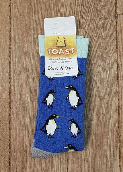 Socks Blue Penguin Toast