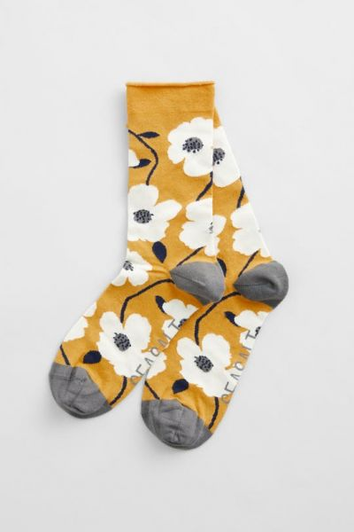 Women's Bamboo Arty Socks - Wild Mallow Boat Yellow