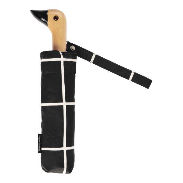Compact Duckhead Umbrella- black grid