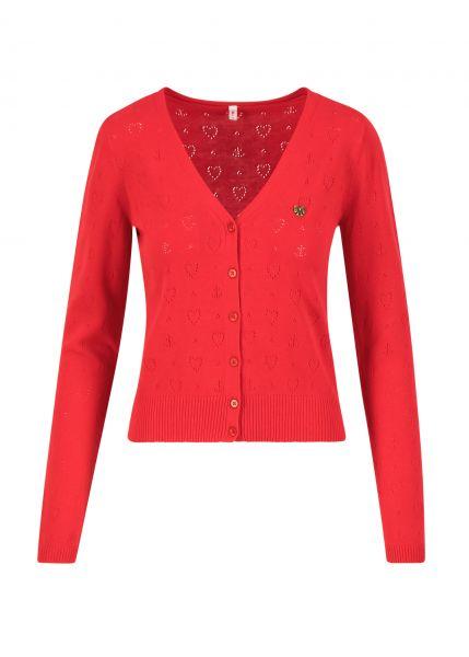 logo cardigan v-neck langarm - red heart anchor
