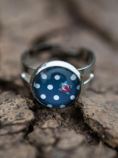 Ring silber - Polka dots & Rose blau