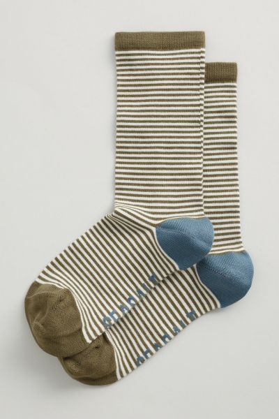 Women's Sailor Socks - Mini Stripe Dark Seagrass