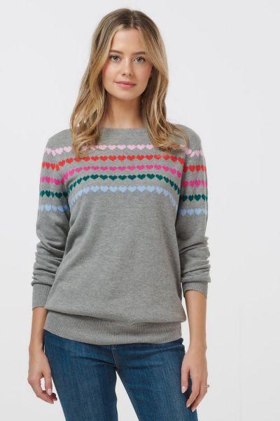 Rita Rainbow Drops Heart Sweater - grey marl
