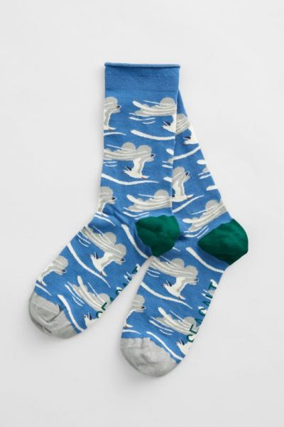 Women's Bamboo Arty Socks - Distant Gulls Waterfront