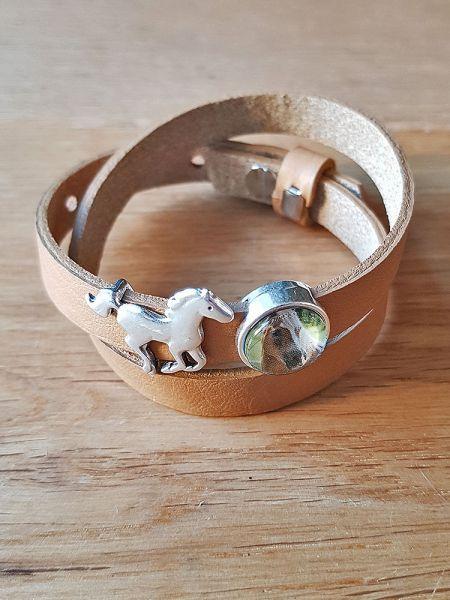 Armband mit Slider-Perle Pferd braun