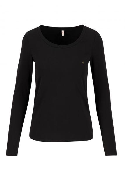 logo round neck langarm welle - just me in black