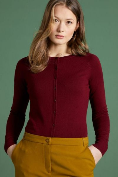 Cardi Raglan Roundneck Droplet - Plum Red