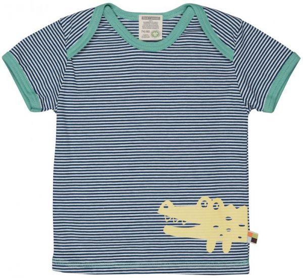 T-Shirt Ringel m. Druck - Ultramarin -
