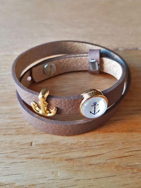 Armband mit Slider-Perle Anker braun