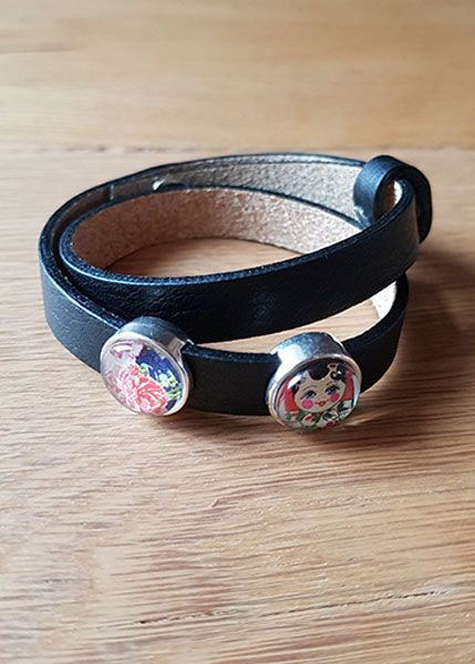Armband mit Slider-Perlen schwarz - Matroschka und Blumen
