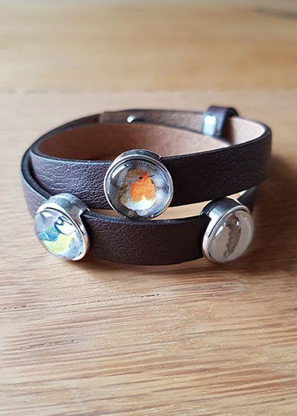 Armband mit Slider-Perlen braun - Meise, Rotkehlchen, Feder