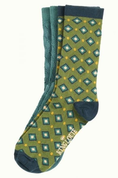Socks 2-Pack Diamond - Olive Green