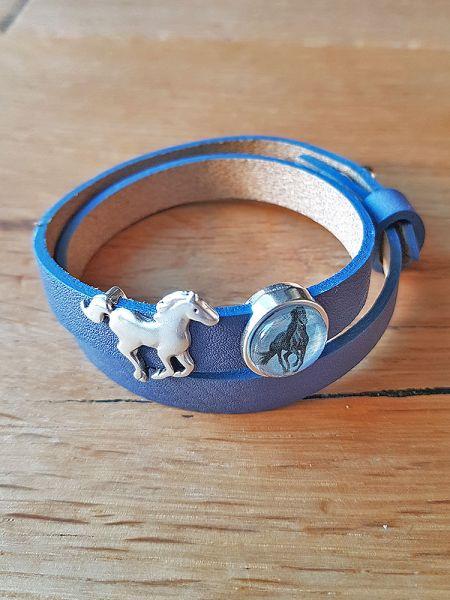 Armband mit Slider-Perle Pferd blau