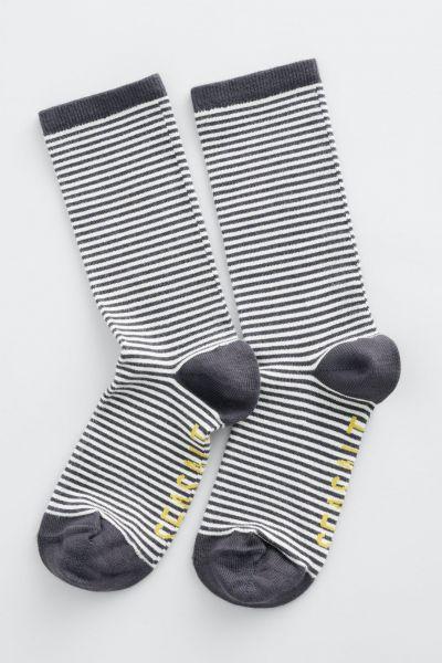 Womens Sailor Socks Mini Stripe Coal