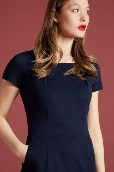 Mona Dress Milano Crepe - Sapphire Blue