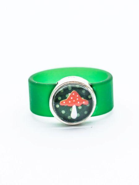 Ring aus Sliderperle silber - Fliegenpilz