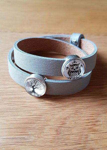 Armband mit Slider-Perlen grau - Eule und Lebensbaum